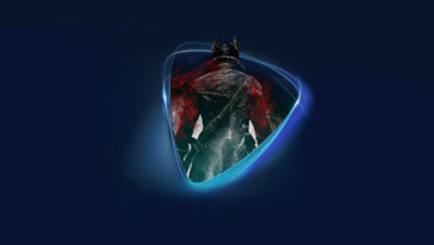 Image of PS Now logo with an image of the Hunter from Bloodborne superimposed.