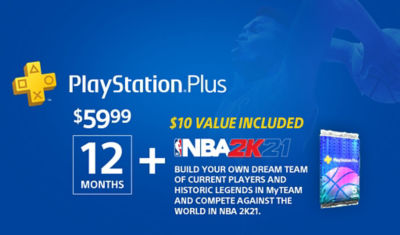 PlayStation Plus image displaying NBA2K21 $10 value included with purchase of 12 months of PS Plus.