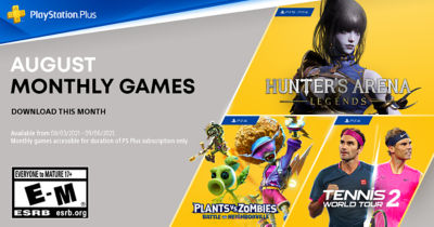 PlayStation Plus free games for the month, featuring Hunter's Arena Legends, Plants vs. Zombies: Battle for Neighborville and Tennis World Tour 2.
