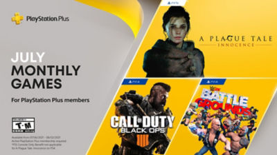 PlayStation Plus free games for the month, featuring A Plague Tale: Innocence, Call of Duty Black Ops IIII and WWE 2K Battlegrounds.