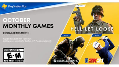 PlayStation Plus free games for the month, featuring Hell Let Loose on PS5, Mortal Kombat X and PGA Tour 2K21 on PS4