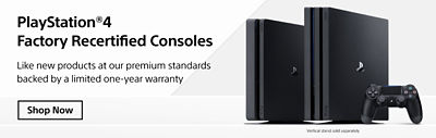 Banner linking to Recertified Console landing page featuring the PlayStation 4 Pro, PlayStation 4 and DUALSHOCK 4