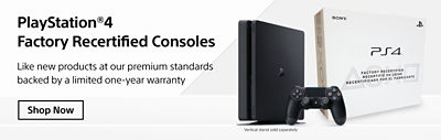 Banner featuring PS4 refurbished consoles available with image of console, controller and the box