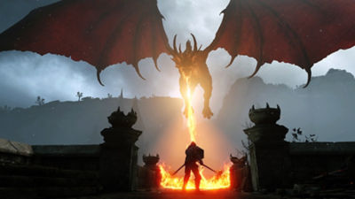 The protagonist of Demon's Souls faces off against a flying fire-breathing dragon.