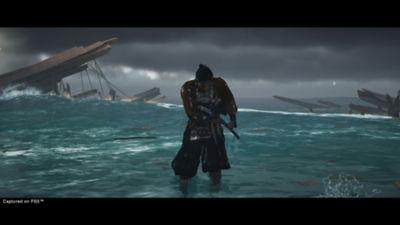 Ghost of Tsushima Director's Cut Jin washing ashore from a shipwreck