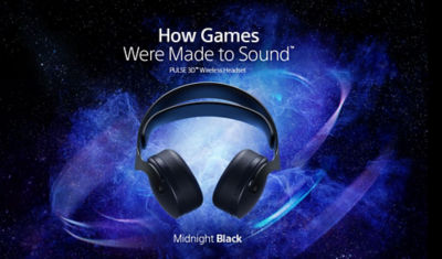 Midnight Black Pulse 3D Wireless PS5 Headset floating in space near a galaxy