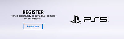 Banner highlighting the ability to register for a chance to purchase a PS5 console