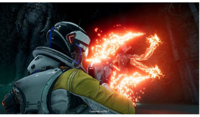 PS5 Returnal main character Selene fighting a monster in space