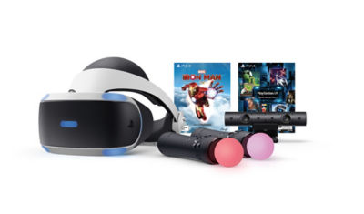 PS VR Ironman Headset Bundle contents displayed, including VR Headset, Move Motion controller (2 pack), Voucher for Iron Man and more.