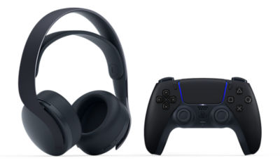 Image of Black PULSE 3D Wireless PS5 headset and black DualSense PS5 controller together