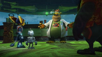 PS4 Ratchet & Clank screenshot featuring Ratchet and Clank talking with Big Al