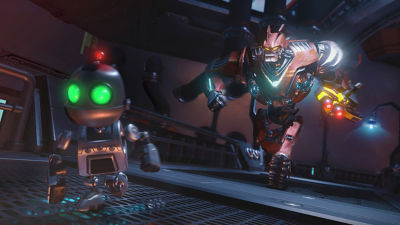 PS4 Ratchet & Clank screenshot featuring Clank escaping a larger robotic enemy