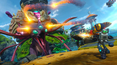 PS4 Ratchet & Clank screenshot featuring Ratchet and Clanking fighting a creature with three eyes, break like face and shooting fire