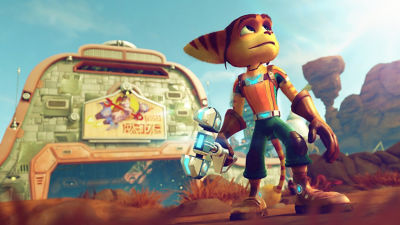 PS4 Ratchet & Clank screenshot featuring Ratchet in front of a hanger with a tool in his hand