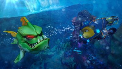 PS4 Ratchet & Clank screenshot featuring Ratchet in scuba gear underwater facing a fish