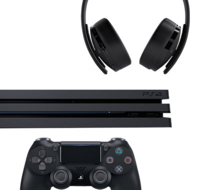Collage of PS4 console and accessories