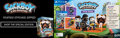 Banner featuring all of the content included in the Sackboy A Big Adventure Special Edition available on the PS4 including the game, sackboy plush, an artbook and more