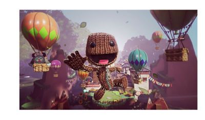 Sackboy jumping towards you smiling