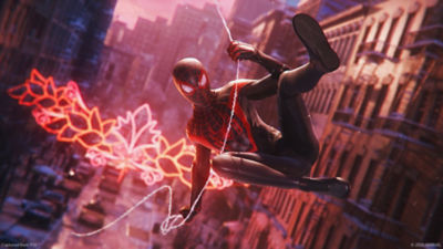 The new Spider-Man, Miles Morales swings on his web through the streets of New York