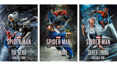 Images from the downloadable content for PS4 Spiderman including Spiderman and the Black Cat in the air for the Heist chapter, Spider-Man delivering a blow to Hammerhead for the Turf Wars chapter and Spiderman pictured with Silver Sable for the Silver Lining chapter