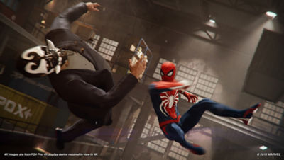 PS4 Spiderman screenshot featuring Spiderman fighting a member of the Inner Demons gang