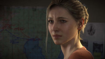 PS4 Uncharted 4 A Thief's End screenshot featuring Elena Fisher looking melancholy