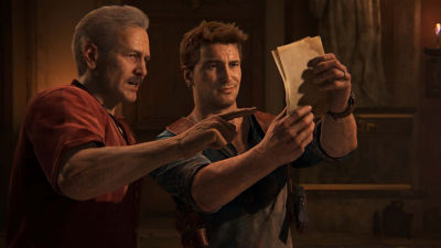 PS4 Uncharted 4 A Thief's End screenshot featuring Nathan Drake and Victor Sullivan looking at a clue on a piece of paper