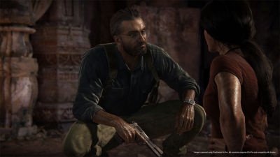 PS4 Uncharted The Lost Legacy screenshot featuring Chloe talking to Asav while he is holding a hand gun