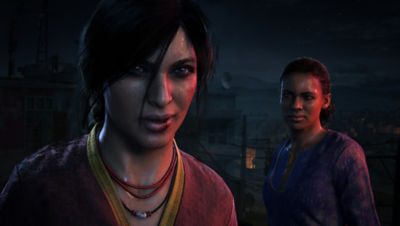 PS4 Uncharted The Lost Legacy screenshot featuring Chloe Frazer and Nadine Ross
