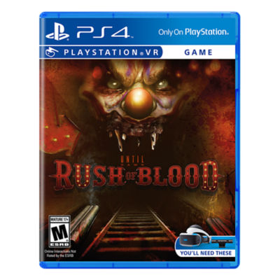 PSVR Until Dawn Rush of Blood box art with a clown's face as entrance to a tunnel